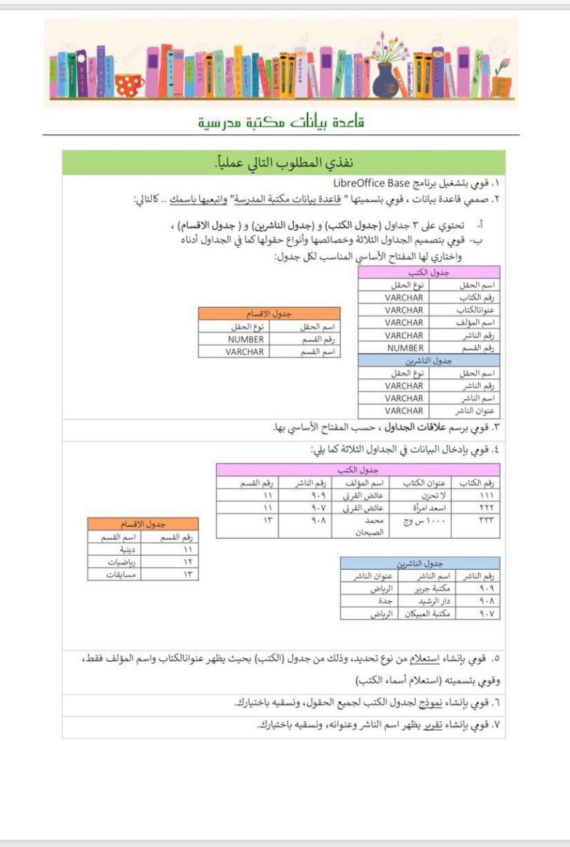 مثال تطبيقي لقاعدة بيانات مكتبة